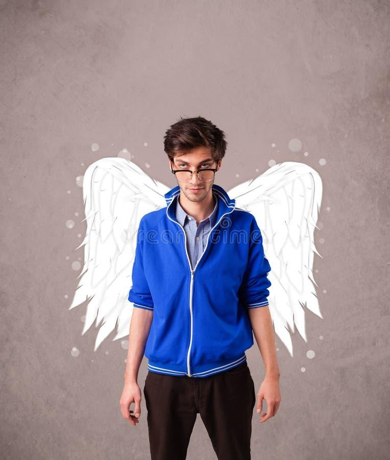 Śliczna osoba z aniołowie ilustrującymi skrzydłami fotografia stock