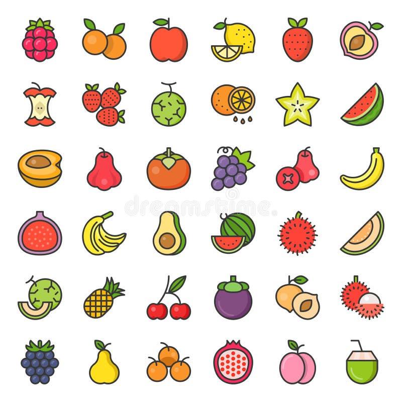 Śliczna owoc i jagody wypełniający zarysowywamy ikonę ustawiamy 2 ilustracja wektor