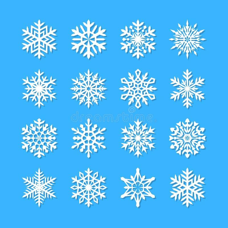 Śliczna płatek śniegu kolekcja odizolowywająca na błękitnym tle Płaskie śnieżne ikony, śnieżna płatek sylwetka Ładni płatki śnieg ilustracja wektor