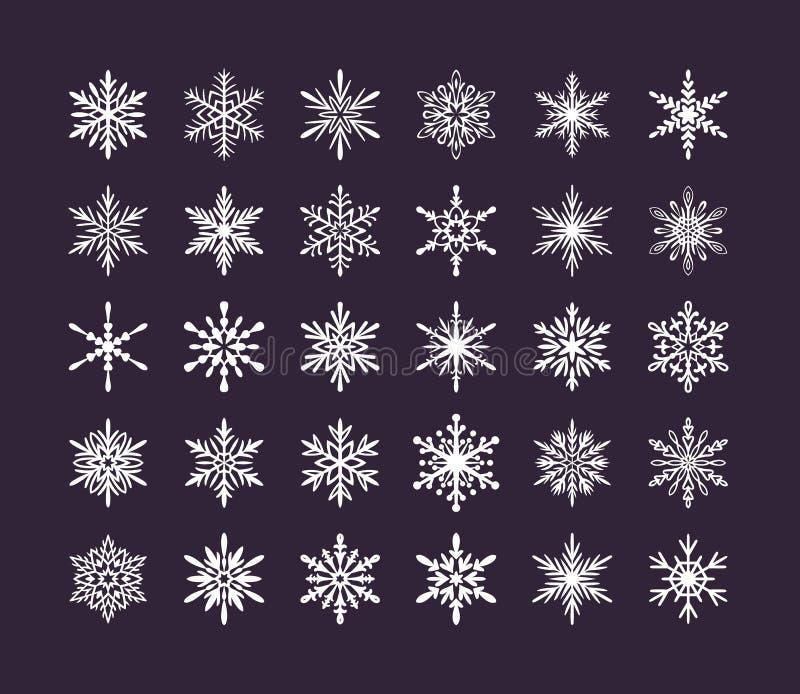 Śliczna płatek śniegu kolekcja odizolowywająca na ciemnym tle Płaskie śnieżne ikony, śnieżna płatek sylwetka Ładny element dla ilustracji