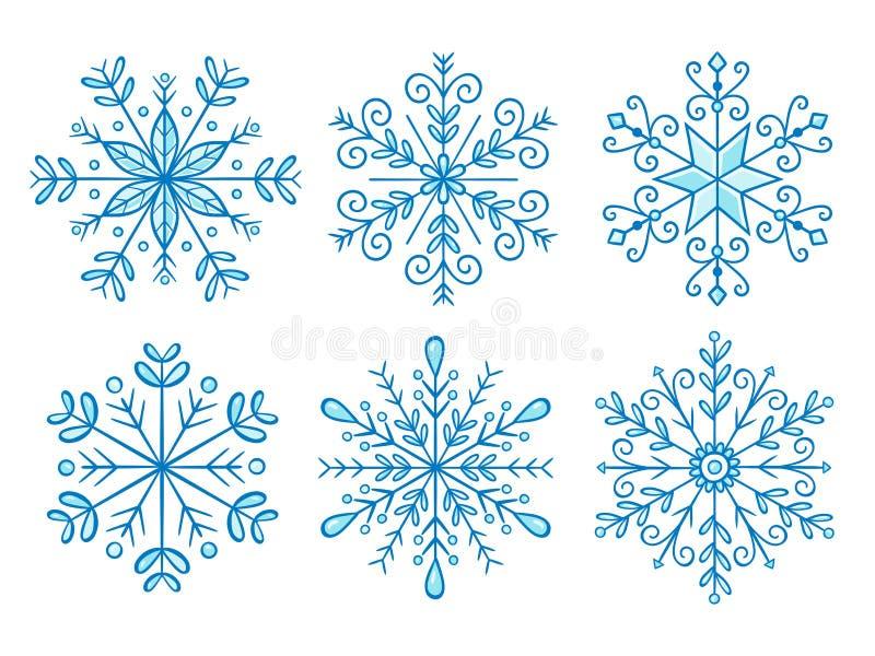 Śliczna płatek śniegu kolekcja w kreskówka stylu royalty ilustracja