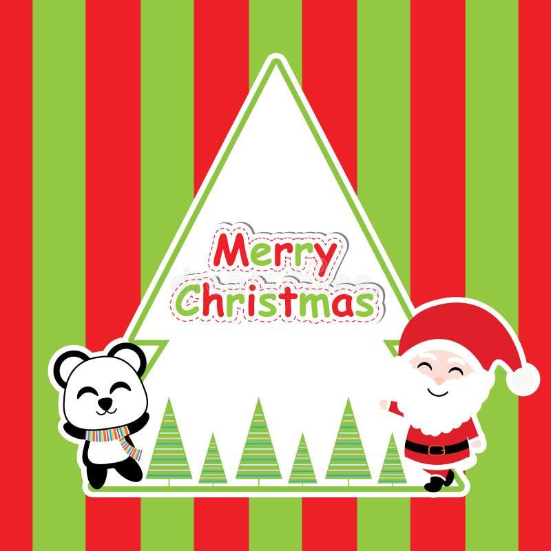 Śliczna panda i Święty Mikołaj na pasiastej tło kreskówce, Xmas pocztówce, tapecie i kartka z pozdrowieniami, royalty ilustracja