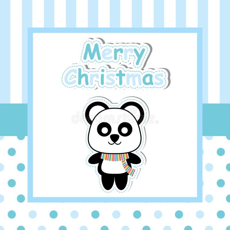 Śliczna panda na błękit ramy kreskówce, Xmas pocztówce, tapecie i kartka z pozdrowieniami, royalty ilustracja
