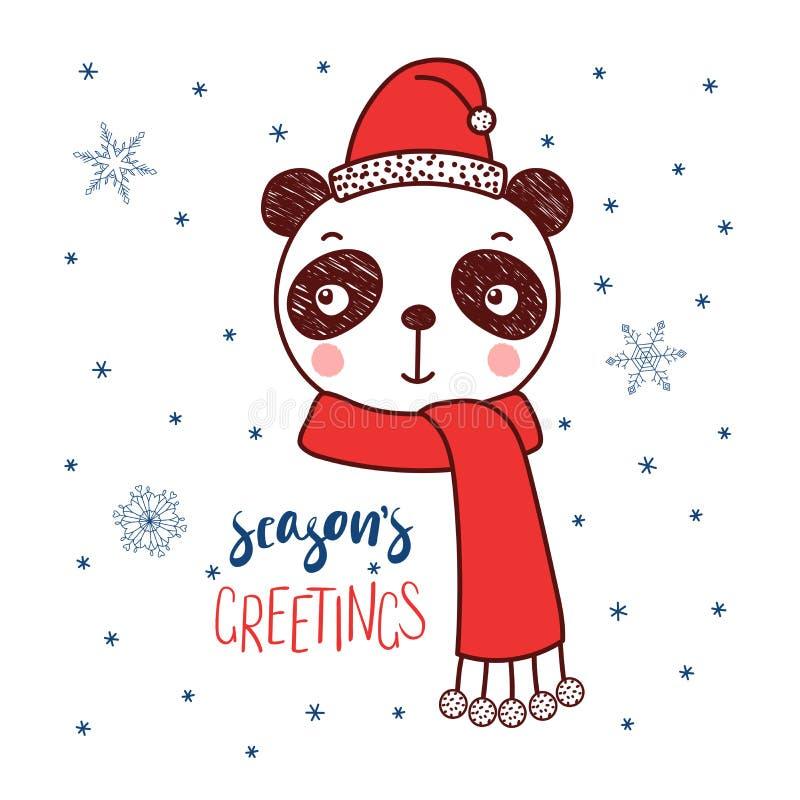 Śliczna panda w Santa kapeluszu ilustracji