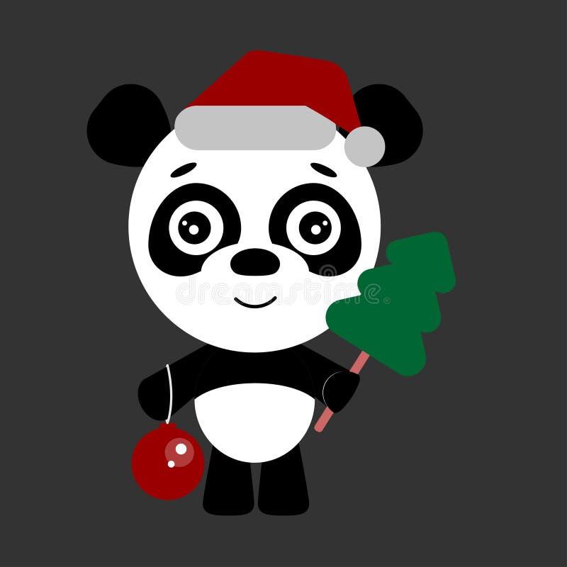 Śliczna panda z choinki i nowego roku piłką ilustracji