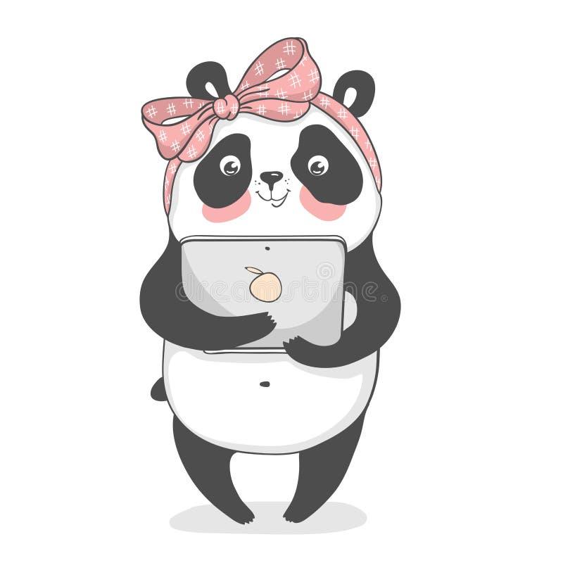 Śliczna panda z notatnikiem w kreskówka stylu 10 eps ilustracyjny os?ony wektor royalty ilustracja