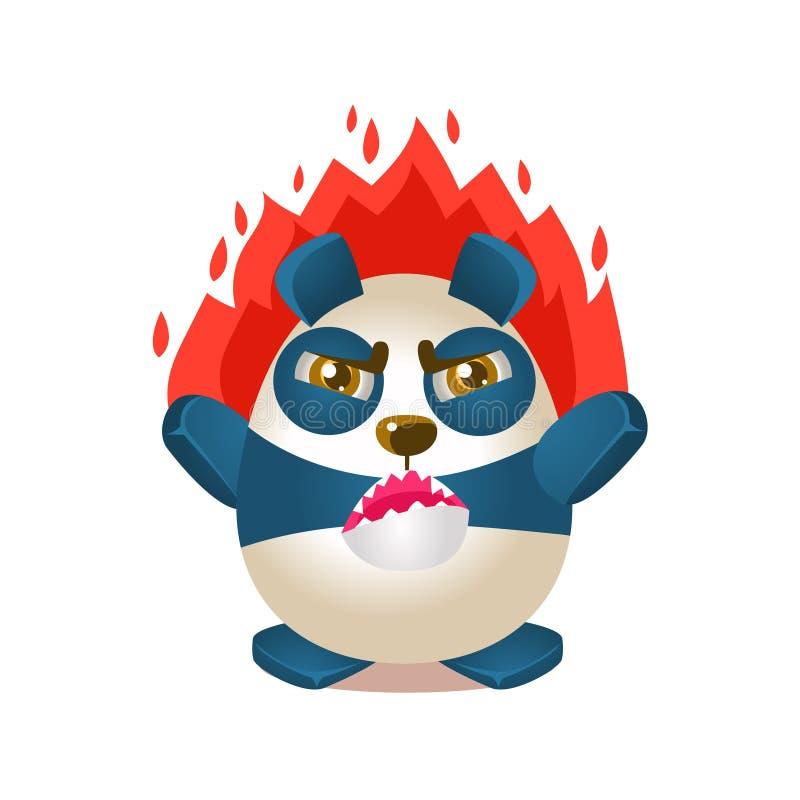 Śliczna pandy aktywności ilustracja Z Zhumanizowanym kreskówka niedźwiedzia charakterem Na ogieniu Z złością ilustracja wektor