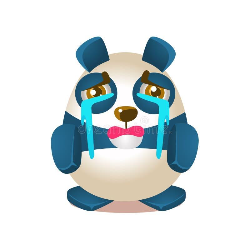 Śliczna pandy aktywności ilustracja Z Zhumanizowanym kreskówka niedźwiedzia charakteru płaczem Z strumieniami łzy ilustracja wektor