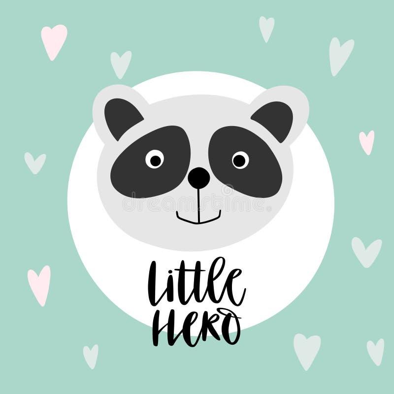 ?liczna pandy i teksta dziecka karta ilustracji