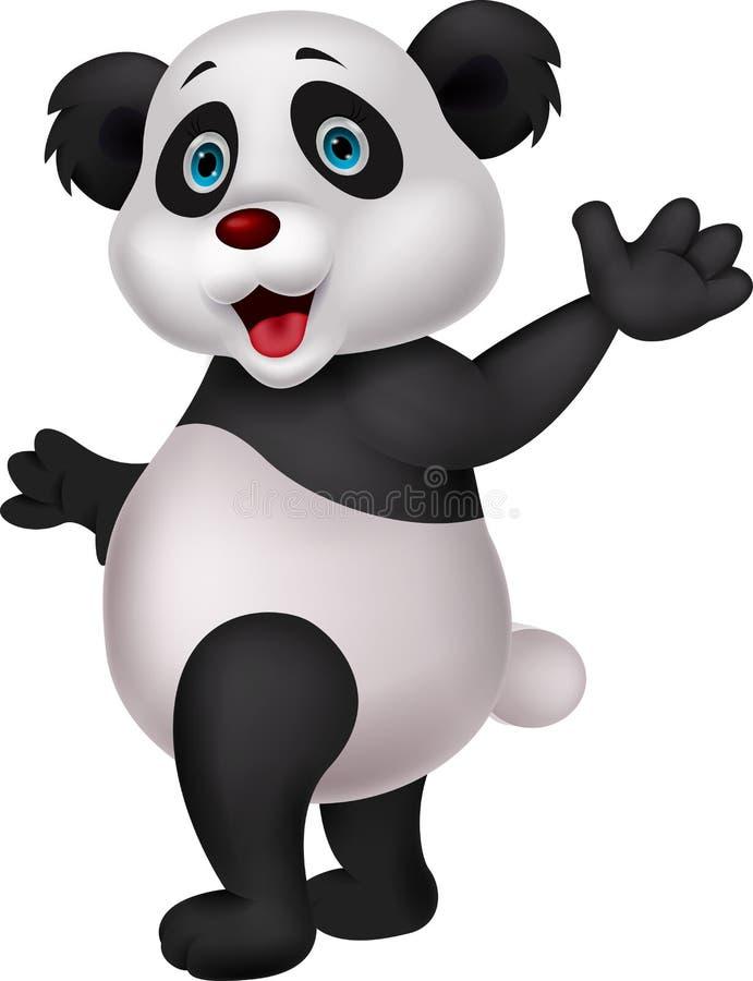 Śliczna pandy kreskówki falowania ręka ilustracji