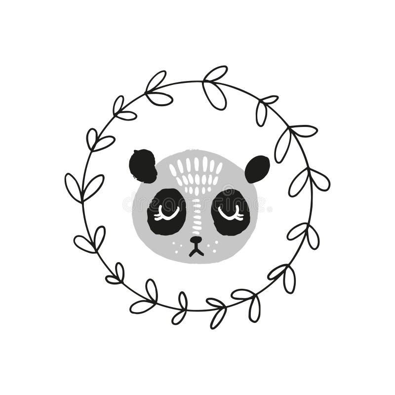 Śliczna pandy twarz Skandynaw stylowa ilustracja, ikona ilustracja wektor