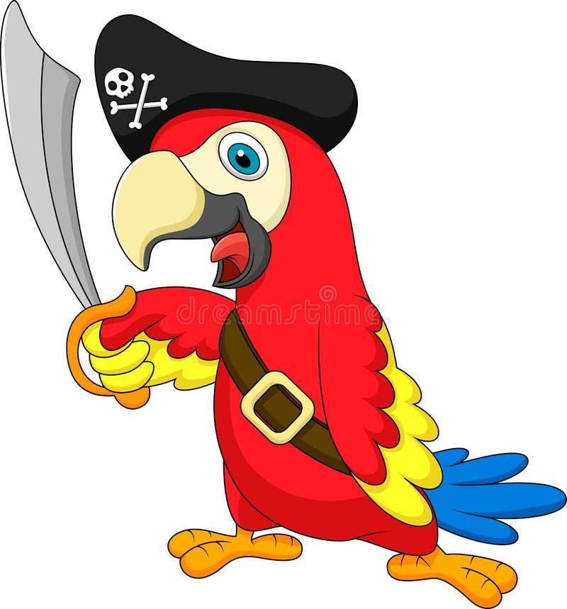 Śliczna papuzia pirat kreskówka royalty ilustracja