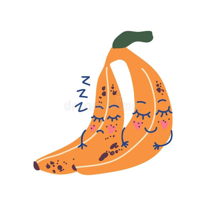 Śliczna para Śpi banany, Urocza Śmieszna owoc postaci z kreskówki wektoru ilustracja ilustracja wektor