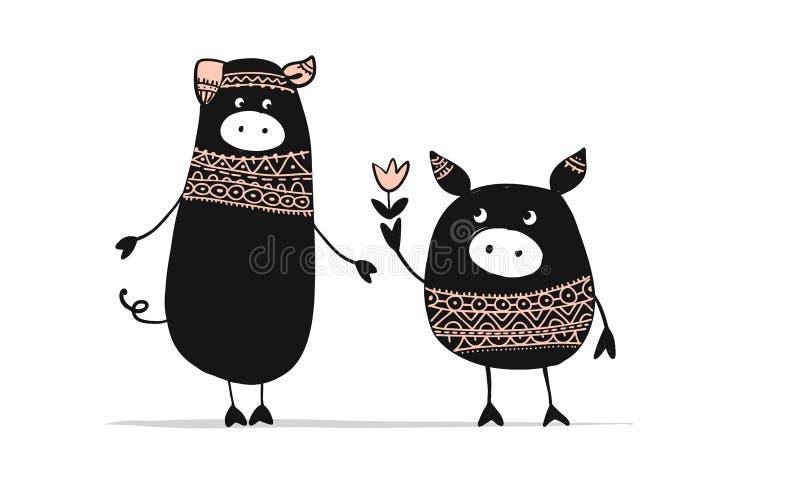 Śliczna para świnie, symbol 2019 dla twój projekta ilustracji