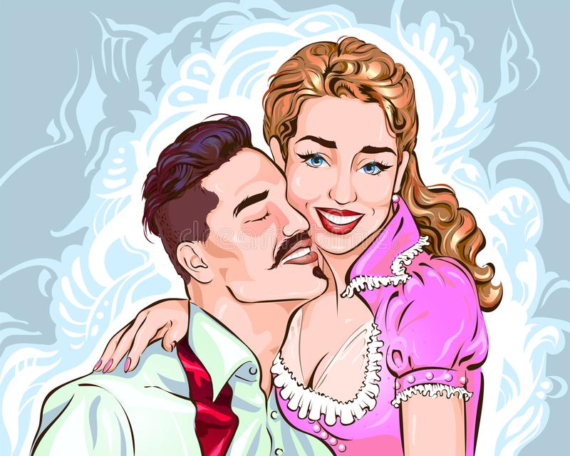 Śliczna para kochankowie royalty ilustracja