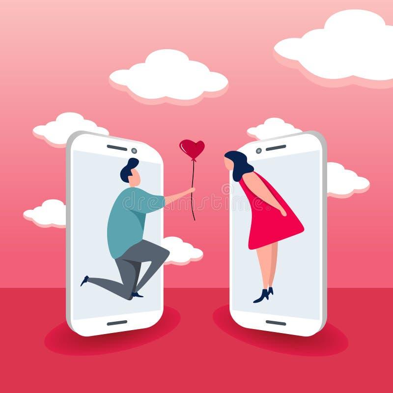 Śliczna para z smartphone pojęciem online datowanie wektoru ilustracja royalty ilustracja