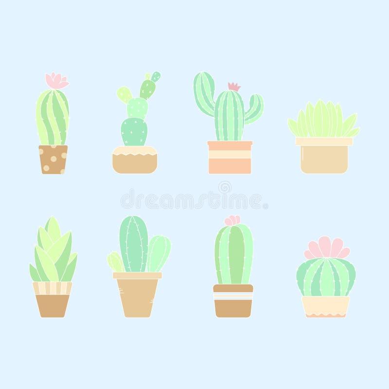 Śliczna pastelowa ręka rysująca kaktusowa roślina w garnkach zdjęcie royalty free