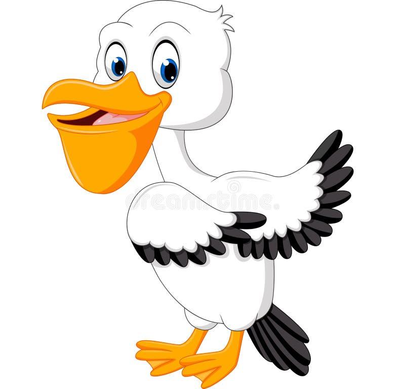 Śliczna pelikan kreskówka ilustracji