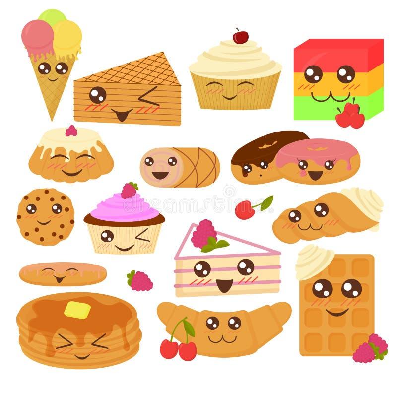 Śliczna piekarnia towarów wektorowa ilustracja w płaskim kreskówka stylu ilustracja wektor