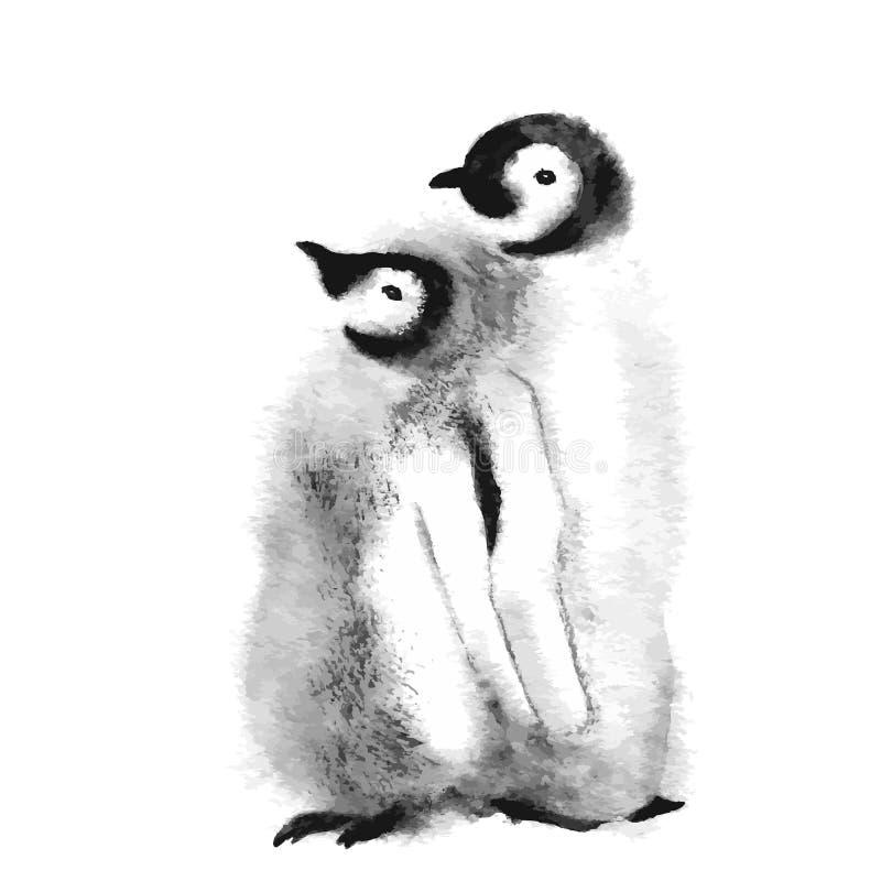 Śliczna pingwin rodzina Dziki biegunowy zwierzę odizolowywający na białym backgro royalty ilustracja
