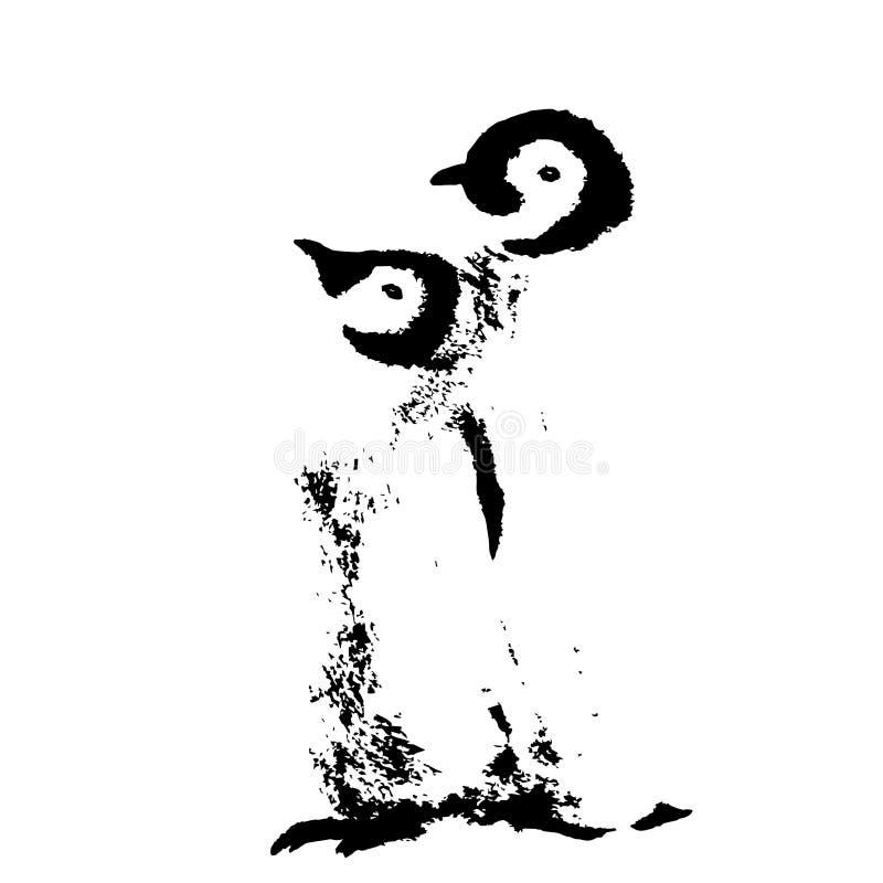 Śliczna pingwin rodzina Dziki biegunowy zwierzę odizolowywający na białym tle ilustracji