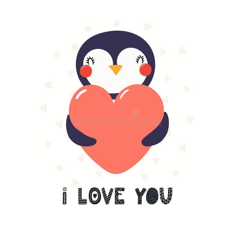 Śliczna pingwin walentynek dnia karta royalty ilustracja