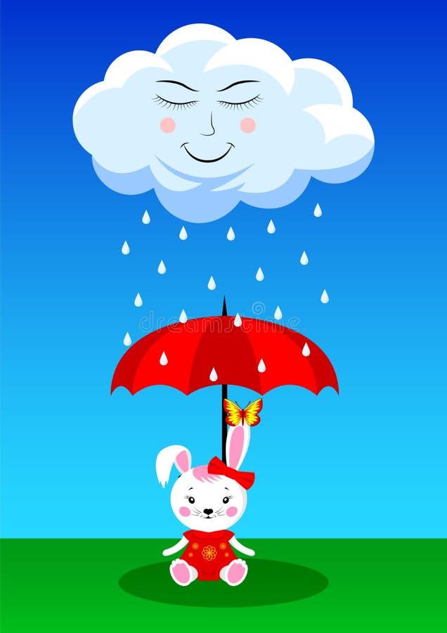 Śliczna podeszczowa chmura i królik z parasolem ilustracji
