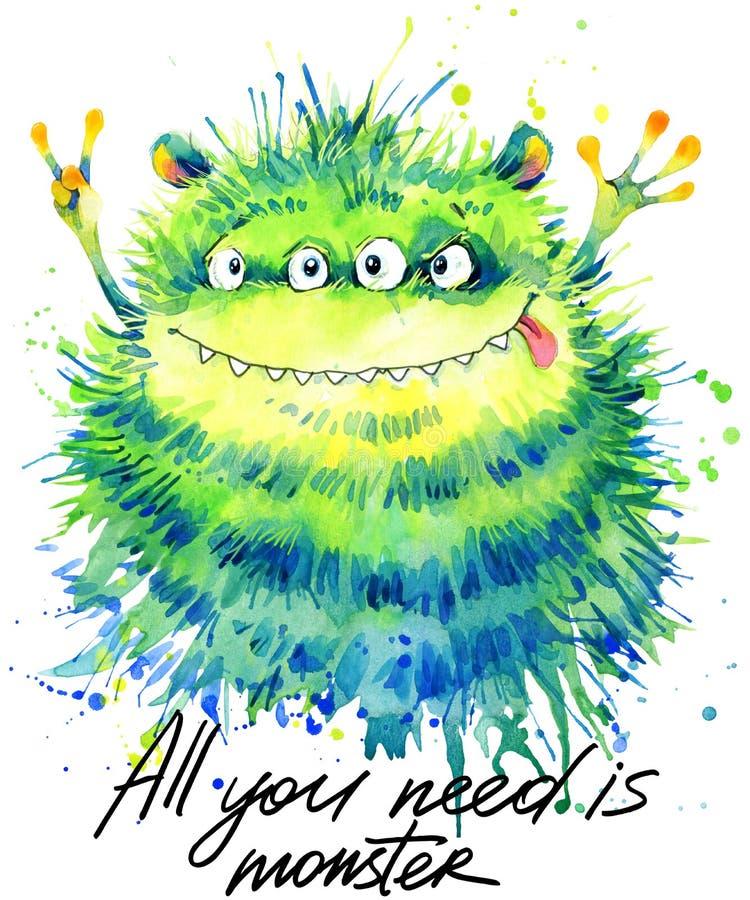 Śliczna potwór akwareli ilustracja Puszysty potwór Kreskówka śliczny potwór royalty ilustracja
