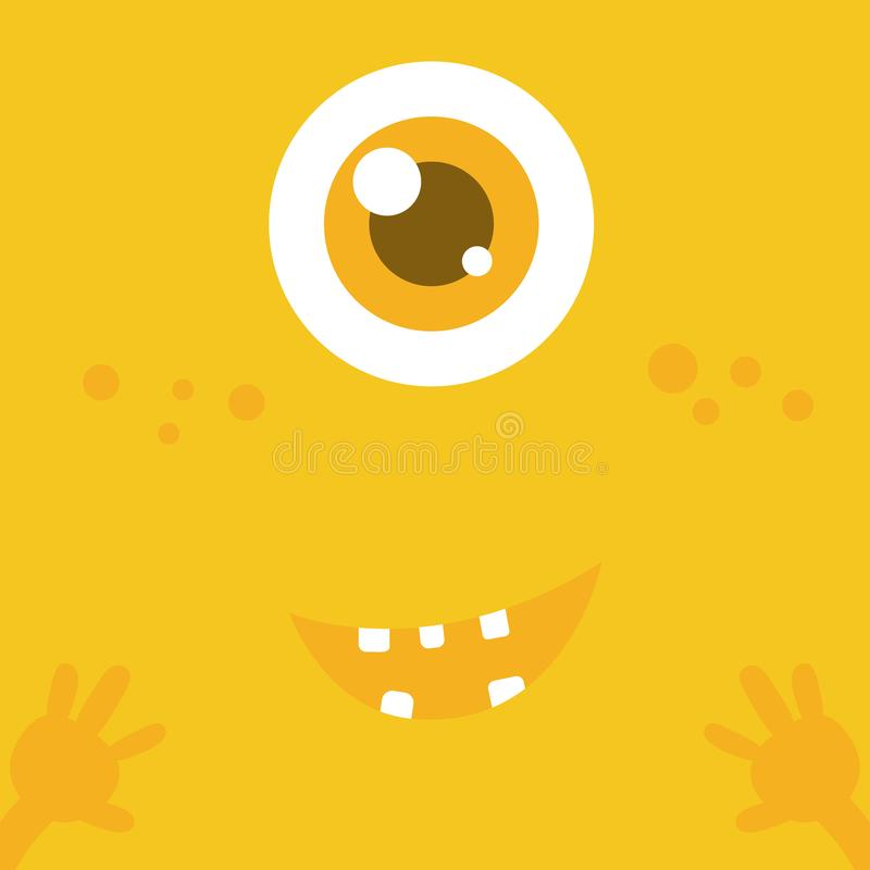 Śliczna potwór kreskówki twarz nad żółtym abstrakcjonistycznym tłem 001 ilustracja wektor