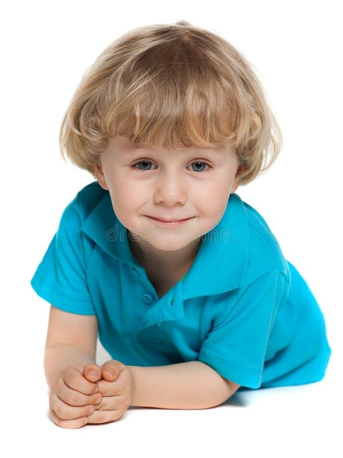 Śliczna preschool chłopiec na bielu fotografia royalty free