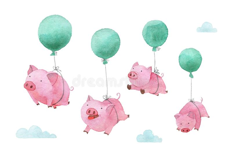 Śliczna prosiątko akwareli ilustracja Cztery świni lata w balonach przez niebo 2019 ilustracji