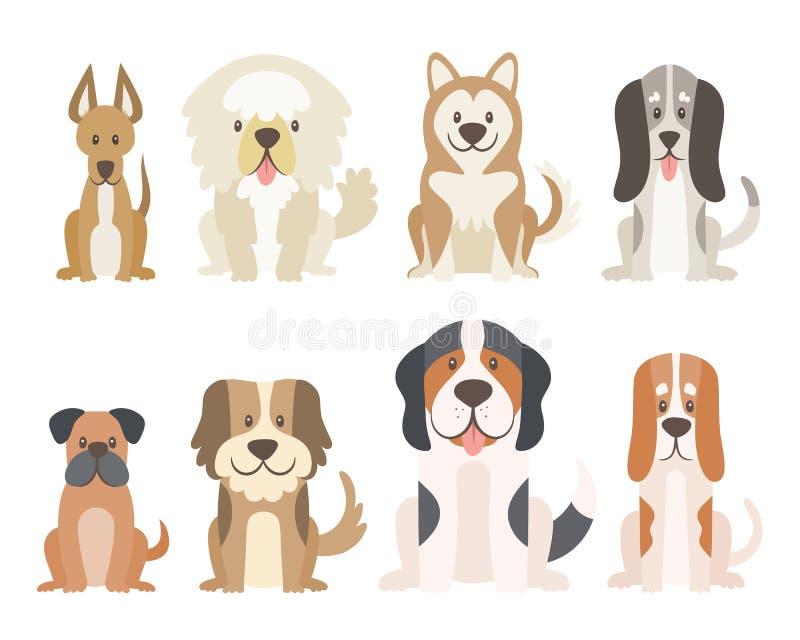 Śliczna psia kolekcja w kreskówka stylu ilustracji