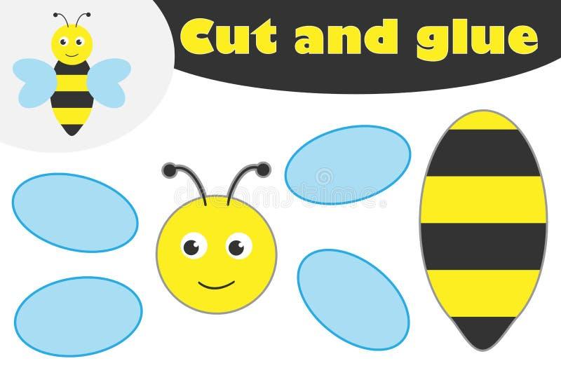 Śliczna pszczoła w kreskówka stylu, edukacji gra dla rozwoju preschool dzieci, używa nożyce i kleidło tworzyć aplikację ilustracja wektor