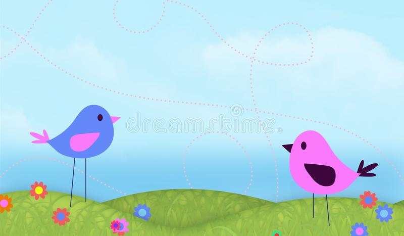 Śliczna ptaka niebieskiego nieba tła sztuka royalty ilustracja