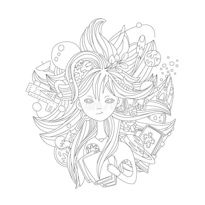 Śliczna ręka remisu ilustracja o nauki dziewczynie Nauka elementy - chemik, fizyka, matematyka, astronomia wokoło małej dziew ilustracja wektor