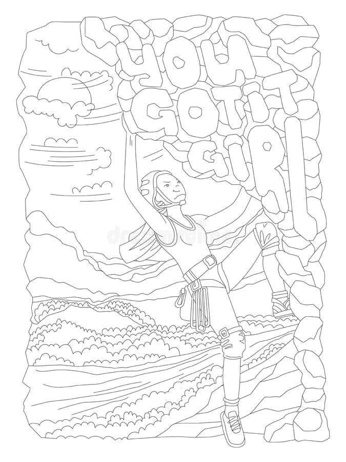 Śliczna ręka remisu kolorystyki strona z odważną wspinaczkową dziewczyną Feministycznej zen sztuki wektorowa ilustracja sport dzi ilustracja wektor