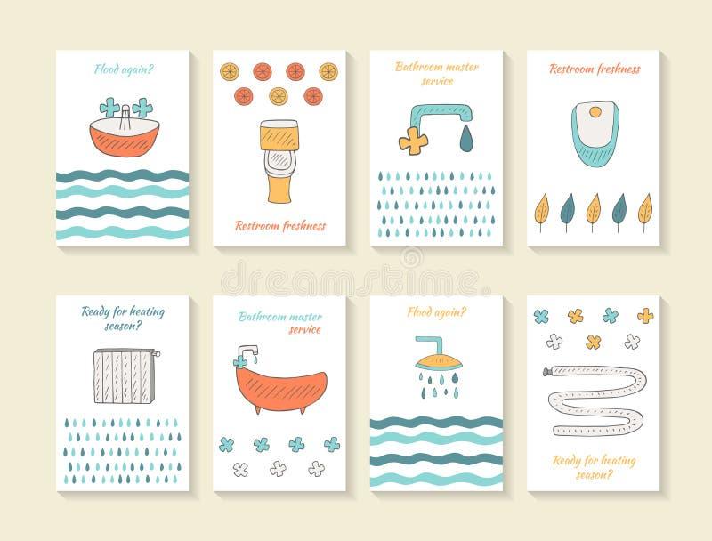 Śliczna ręka rysować doodle łazienki karty ilustracji