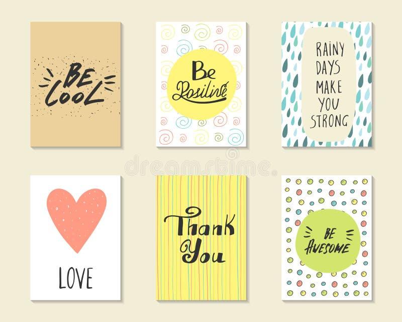 Śliczna ręka rysować doodle pocztówki, karty ilustracja wektor