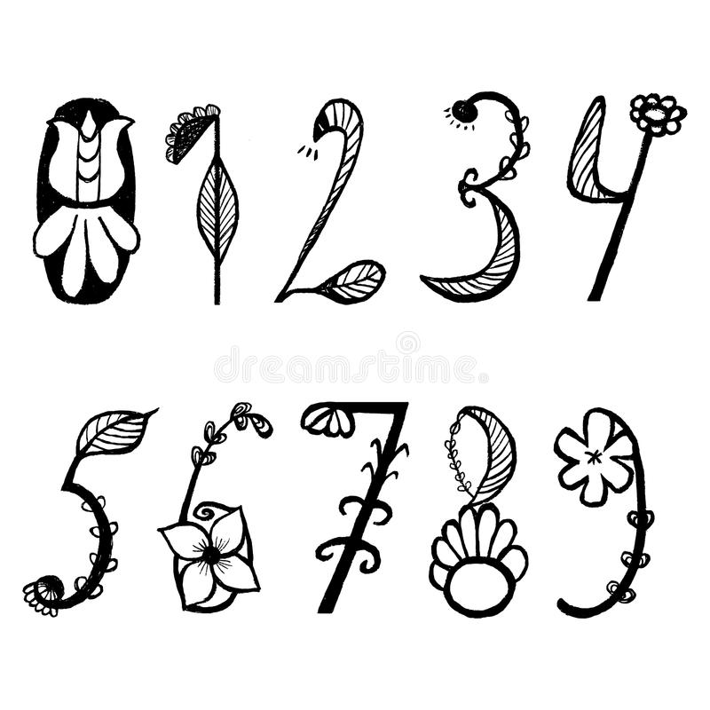 Śliczna ręka rysować liczby w kwiatu stylein wektorze Doodle matematyki elementy od (0) 9 royalty ilustracja