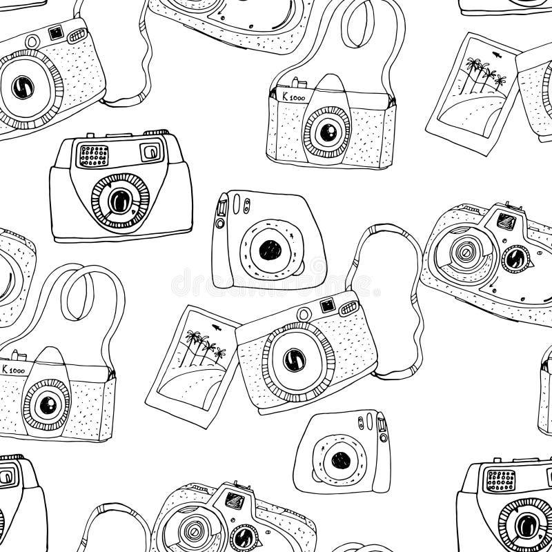 Śliczna ręka rysować stare i nowe kamery Najlepszy lato wspominki ilustracja wektor