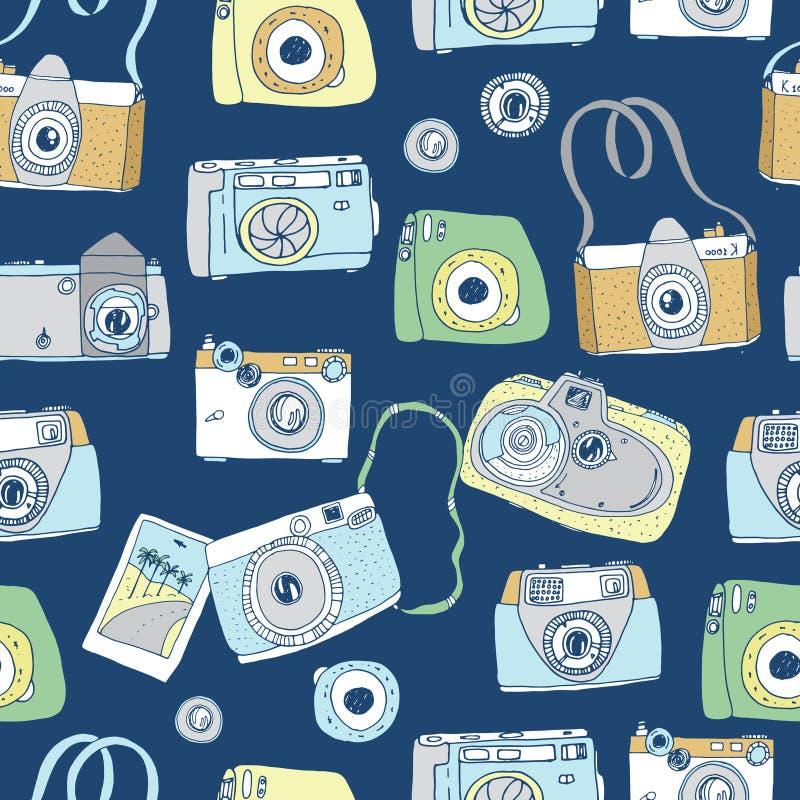 Śliczna ręka rysować stare i nowe kamery Najlepszy lato wspominki royalty ilustracja
