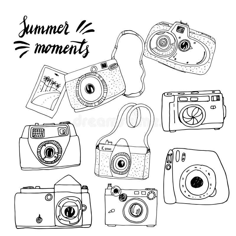 Śliczna ręka rysować stare i nowe kamery Najlepszy lato wspominki ilustracji