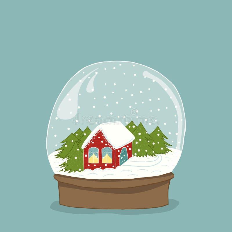Śliczna ręka rysująca śnieżna kula ziemska z domem inside ilustracja wektor
