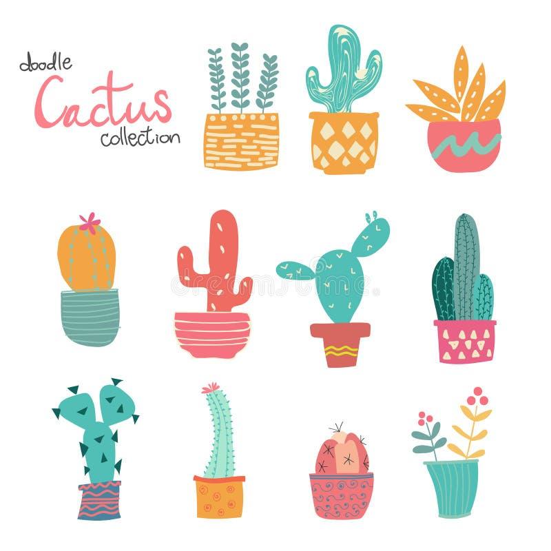 Śliczna ręka rysująca doodle pastelowa kaktusowa kolekcja royalty ilustracja