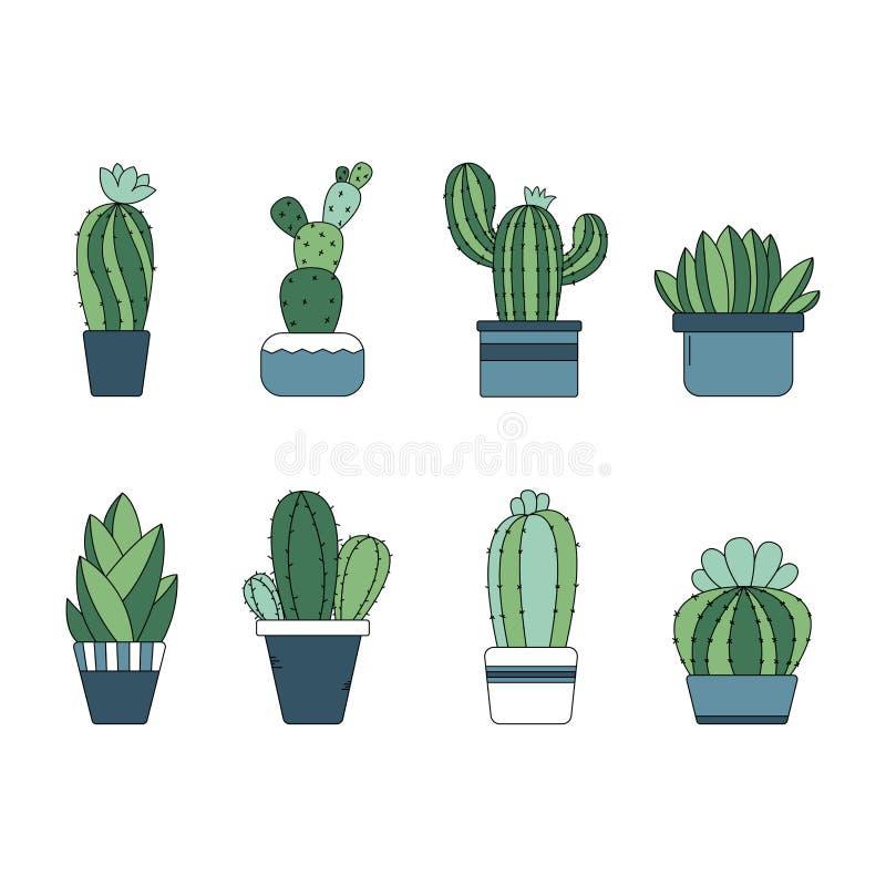 Śliczna ręka rysująca kaktusowa roślina w garnkach zdjęcie royalty free