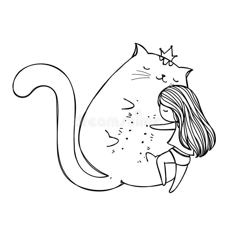 Śliczna ręka rysująca kreskówki doodle dziewczyna i duży kot Dziewczyna ściska kot kreskówki rękę rysującą Kawaii kreskówki dosyp royalty ilustracja