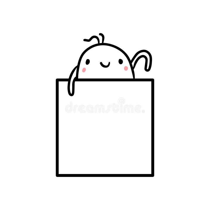 Śliczna ręka rysująca marshmallow mienia kwadrata ramy ilustracja ilustracji