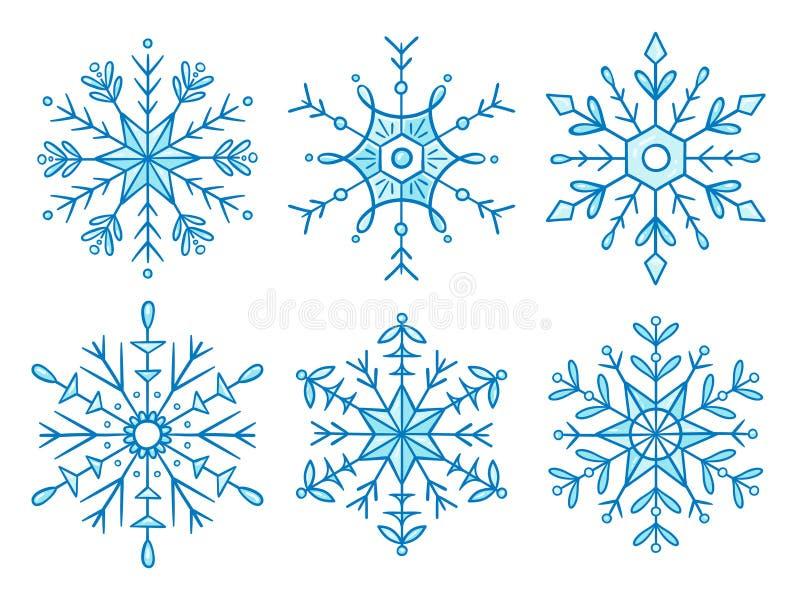 Śliczna ręka rysująca płatek śniegu kolekcja royalty ilustracja