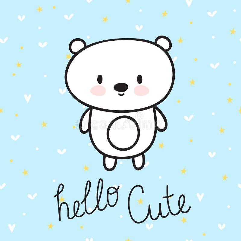 Śliczna ręka rysująca pocztówka z śmiesznym małym niedźwiedziem Karta dla małej dziewczynki lub chłopiec projekta pożarniczy nota ilustracji