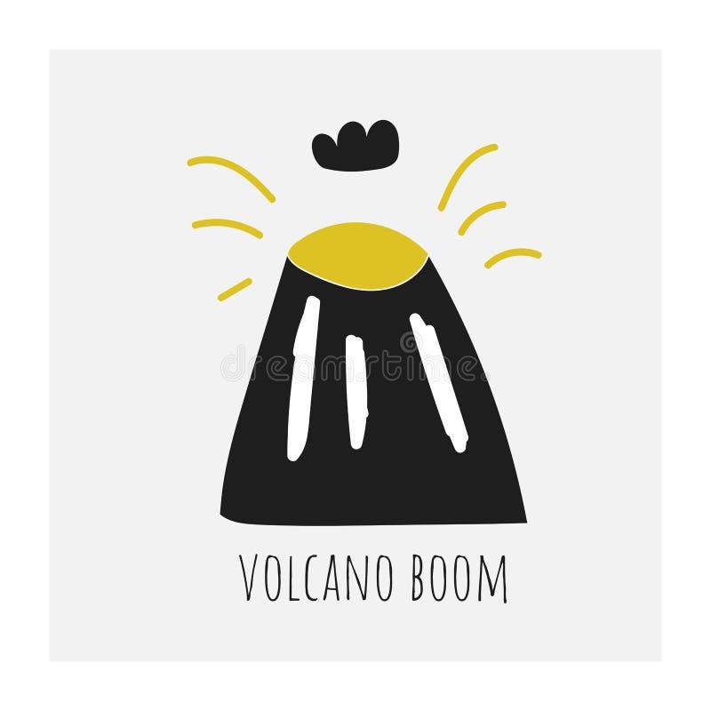 Śliczna ręka rysująca wulkanu huku ilustracja Karta, pocztówka, plakat, tło z górą, dymna chmura, lawa ilustracji